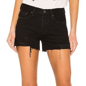 Free People Revolve Sophia Distressed Shorts Black
